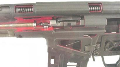 Автоматическая винтовка G3 в разрезе демонстрирующий роликовый механизм замедления