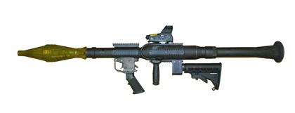 Гранатомет РПГ-7 с пистолетная рукояткой, рукояткой для удержания во время стрельбы и прикладом  от винтовки M-16/М-4