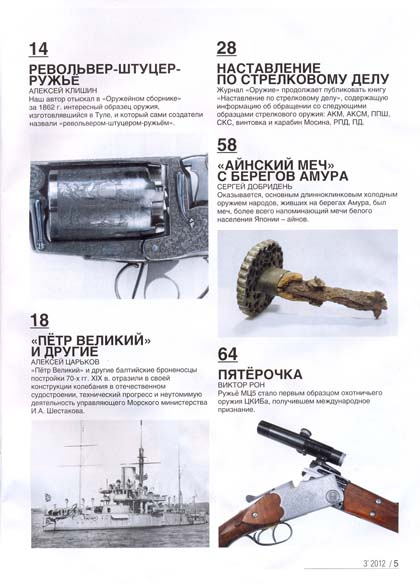 Содержание мартовского выпуска журнала Оружие часть 2