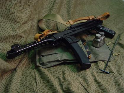Пистолет-пулемет Судаева ППС-43С с приваренным к корпусу прикладом