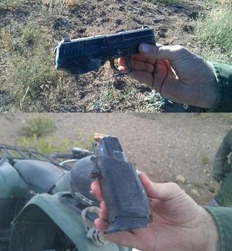 расколовшийся на двое пистолет HK P2000
