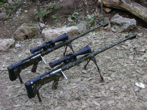 Крупнокалиберная винтовка вероятно использует патрон калибром .50 BMG или советский калибром 14.5х114 мм