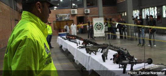 Оружие конфискованное у колумбийских преступников