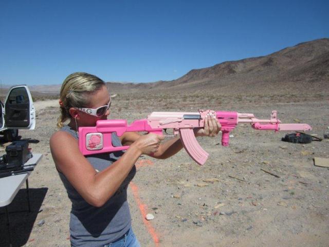Калашников розового цвета на день рождения жене