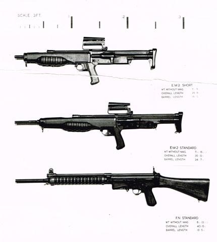 Прототипы первых штурмовых винтовок EM-2 (Великобритания) и FN FAL прототип (Бельгия)