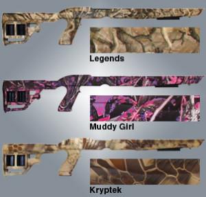 Винтовочные ложа будут доступны в черном и трех камуфляжных цветовых исполнениях: Legends, Muddy Girl и Kryptek