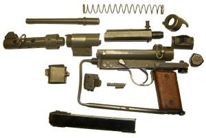 Пистолет-пулемет Karl Gustav M45 в разобранном состоянии