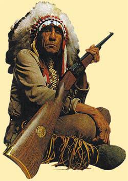 Индейский вождь с винтовкой Savage, является визитной карточкой компании