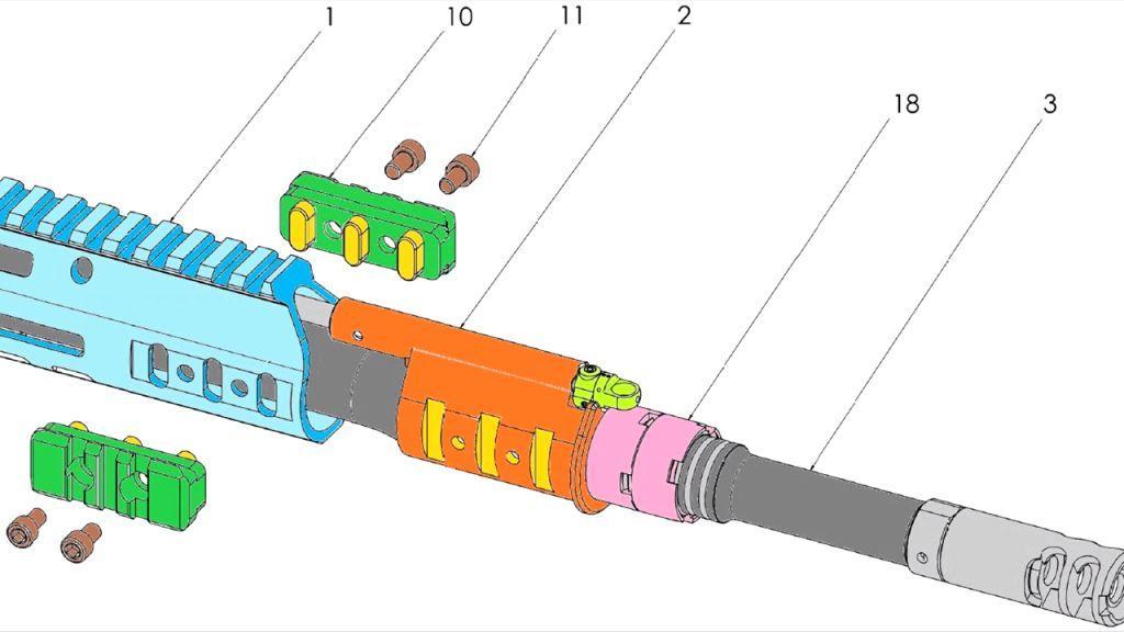Схема крепления ствола к ствольной коробке винтовки Конева