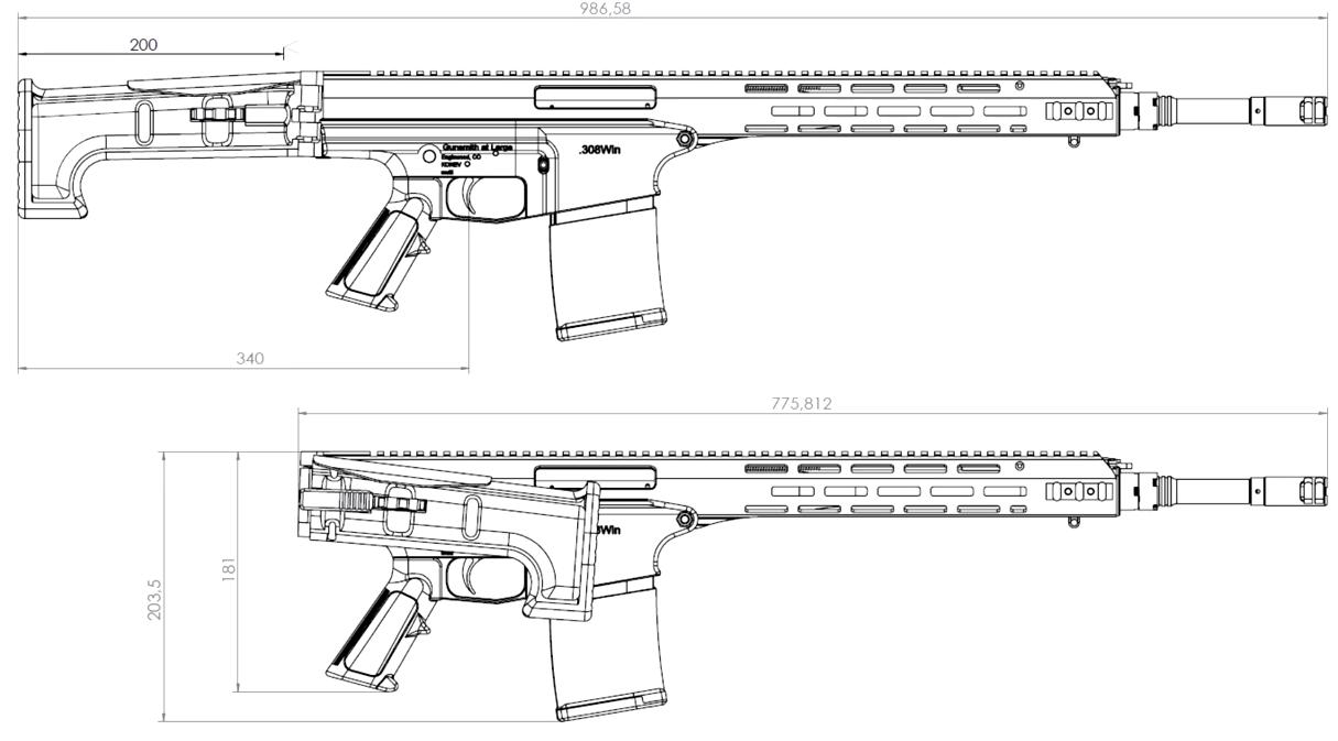 Модульная мультикалиберная винтовка Константина Конева с размерами