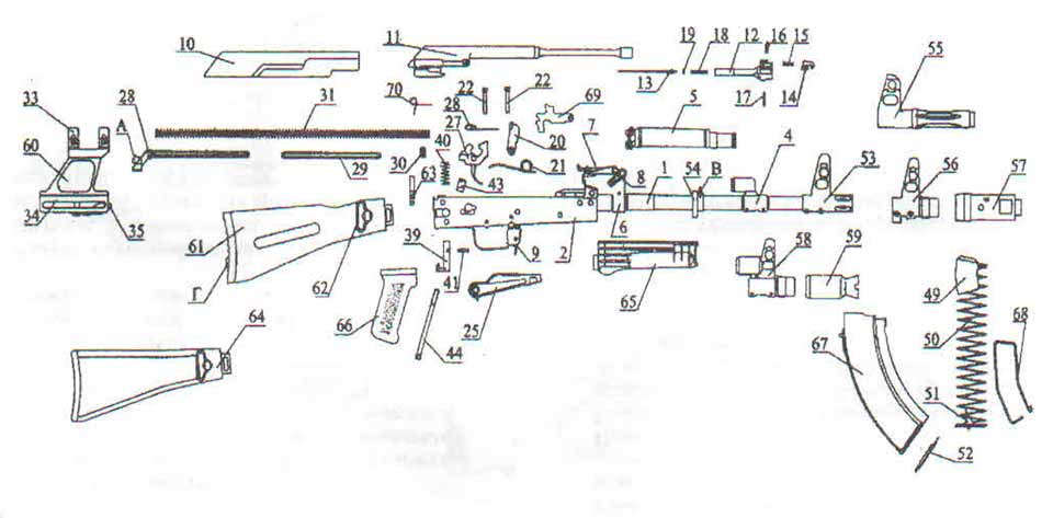Составные части карабинов «Сайга» со складывающимся прикладом