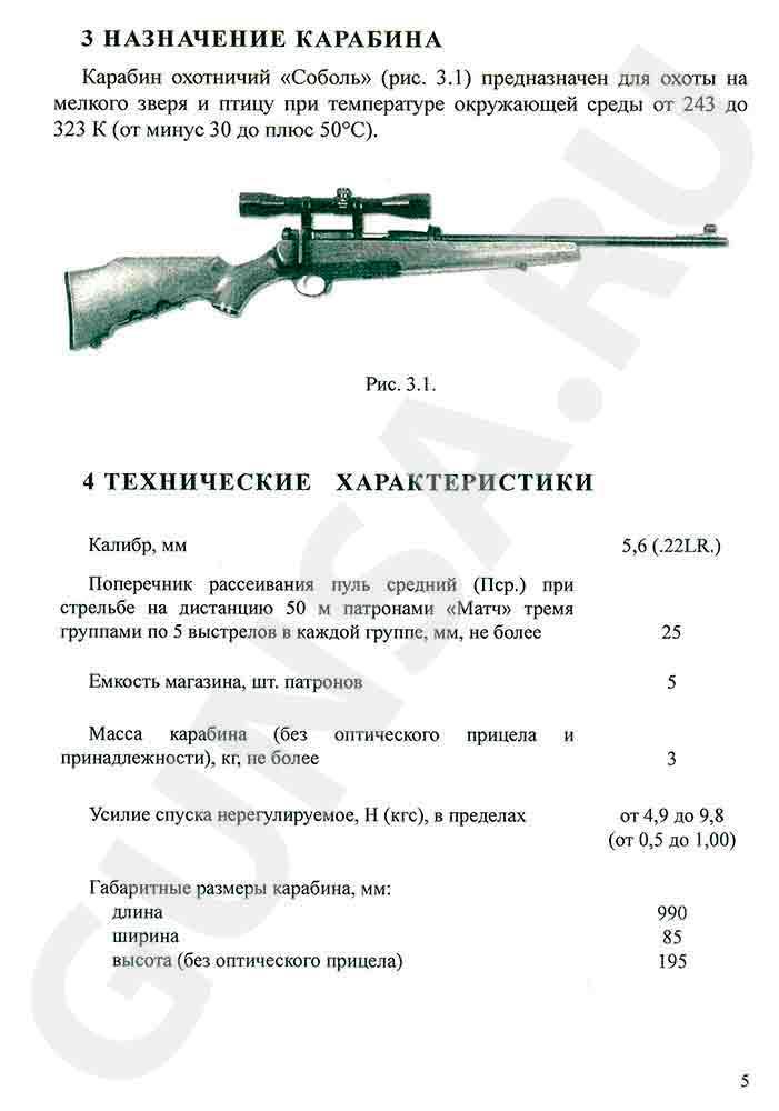 Паспорт, руководство, инструкция к карабину Соболь стр. 5
