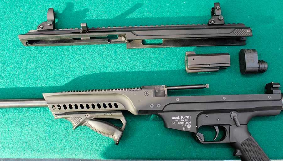 Пистолет-карабин Р-701 в разобранном состоянии