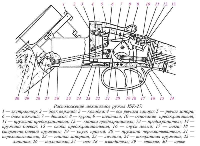 Схема расположения механизмов ружья МР-27 (ИЖ-27)